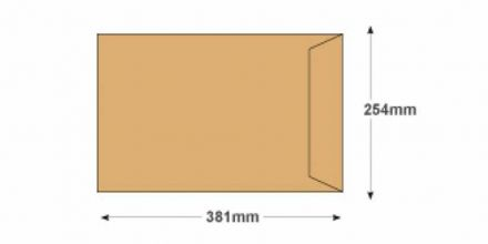381 x 254 - Manilla Commercial  Envelopes - 90gsm - Non Window - Gummed - image 2