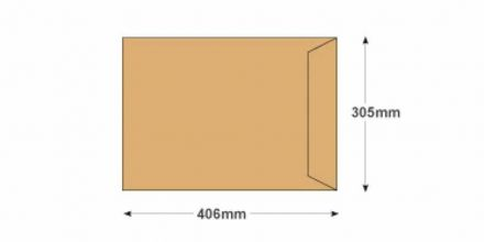 406 x 305mm - Manilla Commercial  Envelopes - 100gsm - Non Window - Gummed - image 2