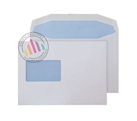C5+ - White Mailing Envelopes - 90gsm - Large Window - Gummed