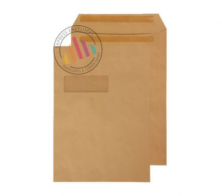 C4 - Manilla Commercial  Envelopes - 90gsm - Window - Self Seal