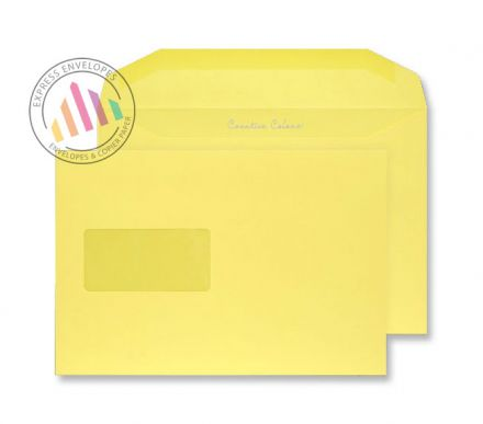 C5+ - Banana Yellow Envelopes - 120gsm - Window - Gummed