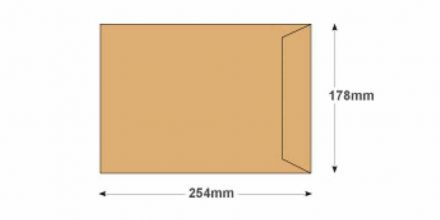 254 x 178 -  Manilla Commercial Envelopes - 115gsm - Non Window - Gummed - image 2