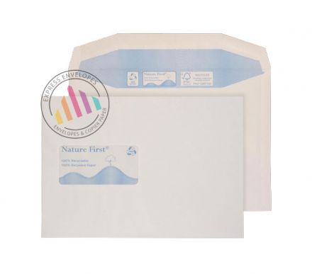 Recycled C5+ - White Mailing Envelopes - 90gsm - Window - Gummed