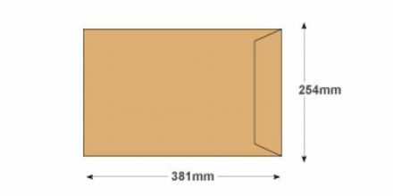 381 x 254 - Manilla Commercial  Envelopes - 90gsm - Non Window - Self Seal - image 2