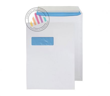 C4 - White Superior Commercial Envelopes - 110gsm - Window - Peel & Seal