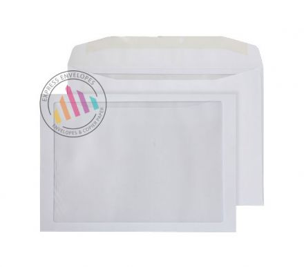 C4 - White Mailing Envelopes - 100gsm - Full Face Window - Gummed