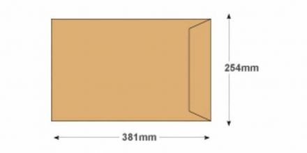 381 x 254 - Manilla Commercial  Envelopes - 115gsm - Non Window - Gummed - image 2