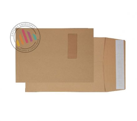 C4 - Manilla Tear Resistant Envelopes - 130gsm - Window - Peel & Seal
