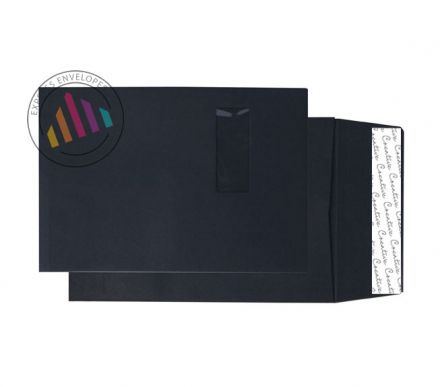 C4 - Jet Black Gusset Envelopes - 140gsm - Window - Peel & Seal