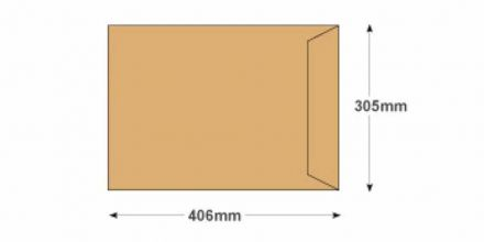 406 x 305mm - Manilla Commercial  Envelopes - 115gsm - Non Window - Gummed - image 2