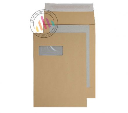 C4 - Manilla Board Back Gusset Envelopes - 120gsm - Window - Peel & Seal