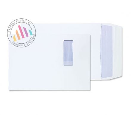 B4 - White Gusset Envelopes - 140gsm - Window - Peel & Seal