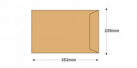 352 x 229mm - Manilla Recycled Envelopes - 90gsm - Non Window - Gummed - image 2