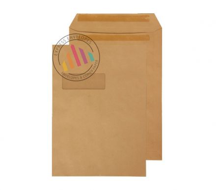 C4 - Manilla Commercial  Envelopes - 115gsm - Window - Self Seal
