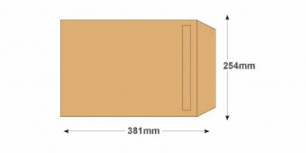 381 x 254 - Manilla Commercial  Envelopes - 115gsm - Non Window - Self Seal - image 2