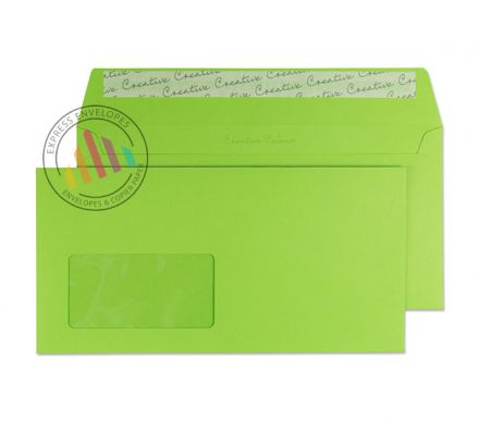DL+ -  Lime Green Envelopes - 120gsm - Window - Peel and Seal