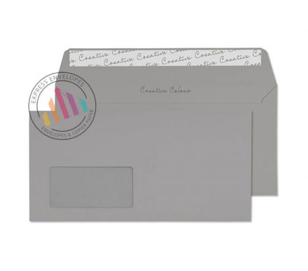 DL+ - Storm Grey Envelopes - 120gsm - Window - Peel and Seal