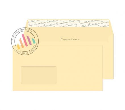 DL+ - Clotted Cream Envelopes - 120gsm - Window - Peel and Seal
