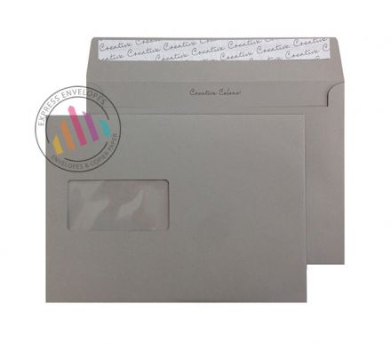 C5 - Storm Grey Envelopes - 120gsm - Window - Peel and Seal