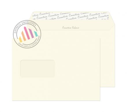 C5 - Soft Ivory Envelopes - 120gsm - Window - Peel and Seal