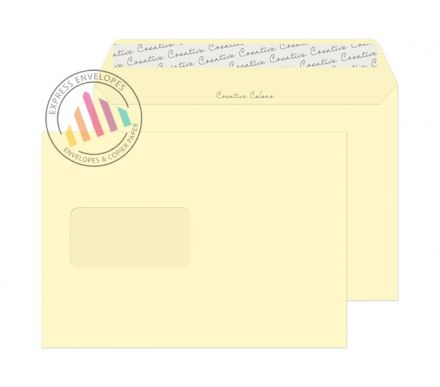 C5 -  Vanilla Ice Cream Envelopes - 120gsm - Window - Peel and Seal