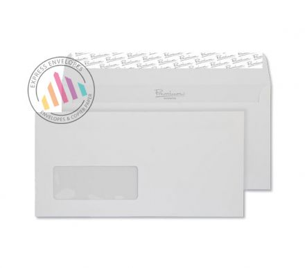 DL - Smooth Diamond White Envelopes - 120gsm - Window - Peel and Seal