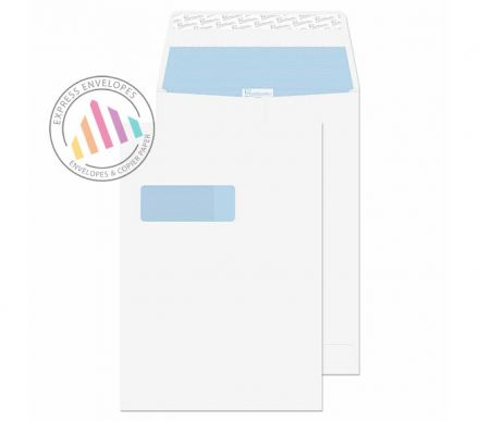 C4 - Ultra White Wove Gusset Envelopes - 140gsm - Window - Peel and Seal