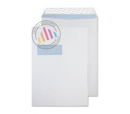 B4 - Ultra White Wove Envelopes - 120gsm - Window - Peel and Seal