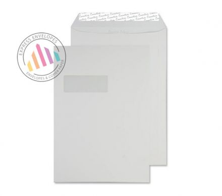C4 - Milk White Envelopes - 120gsm - Window - Peel and Seal