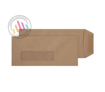 229×102mm - Manilla Commercial Envelopes - 80gsm - Low Window - Gummed