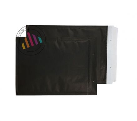 335×230mm - Matt Black Padded Bubble Pocket - Peel and Seal