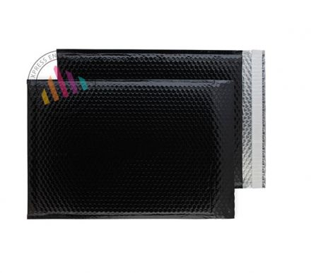 C3 - Oil Black Padded Bubble Envelopes - Peel and Seal