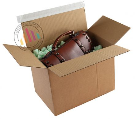 345×256×130mm - Kraft Postal Box - Peel and Seal