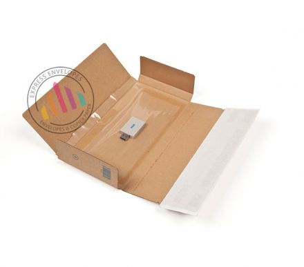 235×122×20mm - Kraft Postal Box - Peel and Seal