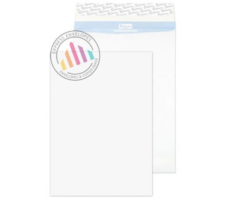 406×305×50mm - White Gusset Envelopes - 125gsm - Non Window - Peel and Seal
