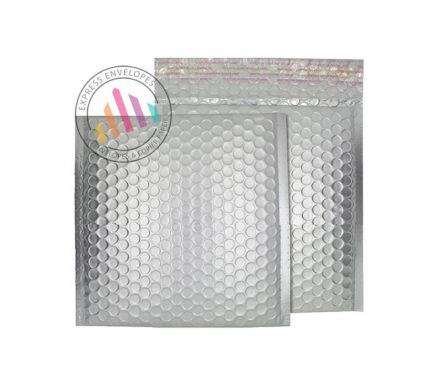 165×165mm - CD Brushed Chrome Padded Bubble Envelopes - Peel and Seal