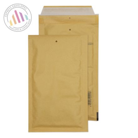 220×120mm - Gold Kraft Padded Bubble Envelopes - Peel and Seal