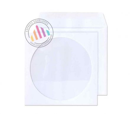 125x125mm - Commercial White CD Envelopes - 90gsm - Window - Gummed