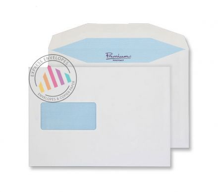 C5+ - White Premium Mailing Envelopes - 90gsm - Window - Gummed