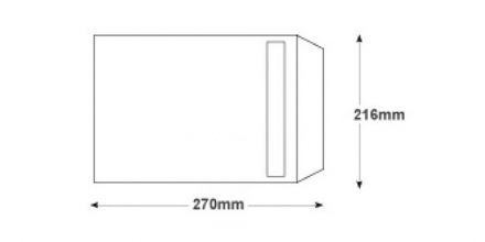 270x216mm - White Commercial  Envelopes - 100gsm - Non Window - Self Seal - image 2