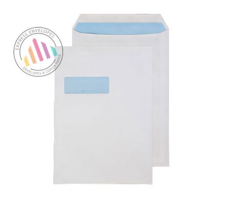 C4 - White Commercial Envelopes - 90gsm - Window - Self Seal