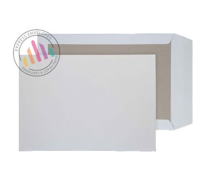 C4 - White Board Back Envelopes - 120gsm - Non Window - Peel and Seal