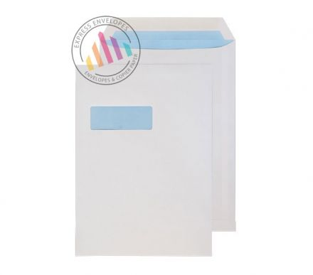 C4 - White Commercial Envelopes - 100gsm - Window - Gummed