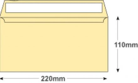 DL - Cream Wove Envelopes - 120gsm - Non Window - Peel and Seal - image 2