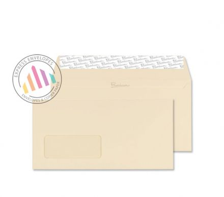 DL - Cream Wove Envelopes -120gsm - Window - Peel and Seal