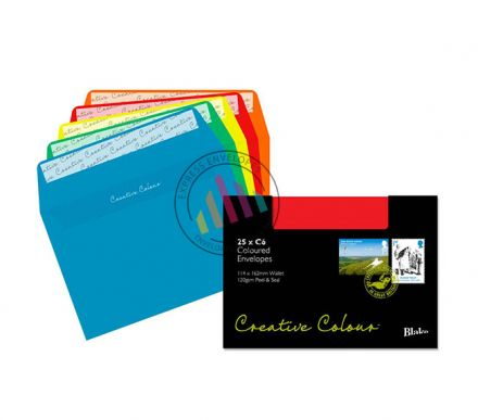 C6 - Assorted Coloured Envelopes - 120gsm - Non Window - Peel and Seal
