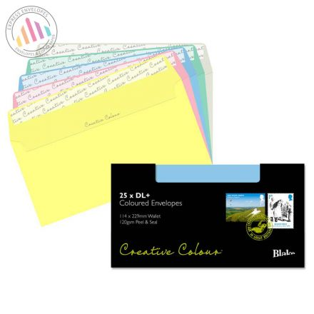 DL+ - Assorted Coloured Envelopes - 120gsm - Non Window - Peel and Seal