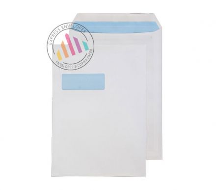 C4 - White Commercial Envelopes - 100gsm - Window - Self Seal