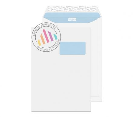 C4 - Ultra White Wove Envelopes - 120gsm - European Window - Peel and Seal