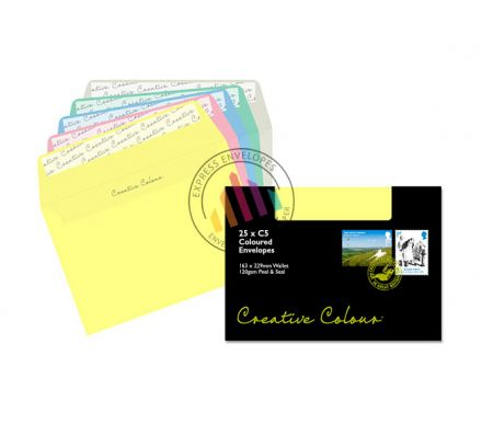 C5 - Assorted Pastel Coloured Envelopes - 120gsm - Non Window - Peel and Seal